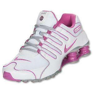 pink and white nike shox women