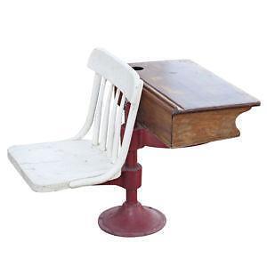 Vintage Wooden School Desks