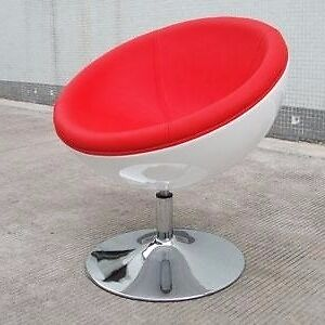 Stunning Red Leather Retro Half Egg Chair