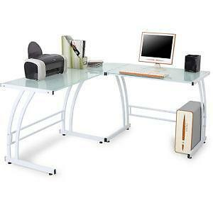 l shaped glass computer desk - Glass L Shaped Desk