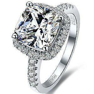 Elegant Sterling Silver Diamond Engagement Ring