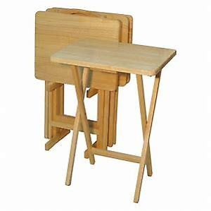 5 Piece Solid Wood TV Tray Set with Sturdy Wooden Stand