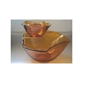 Vintage Honey Gold Chip & Dip Bowls