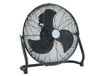 "Large 18"" High Velocity Power Floor Fan - Black Finish"