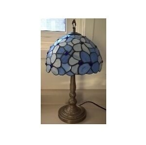 Tiffany Style Blue Stained Glass with Bowl Shade
