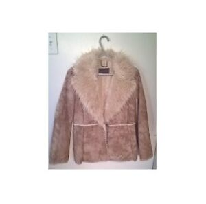 Guess Genuine Suede Tan Leather Jacket Faux Fur Collar