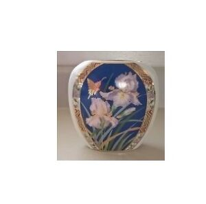 Porcelain Kutani Small Vase with Iris Flowers and Butterfly