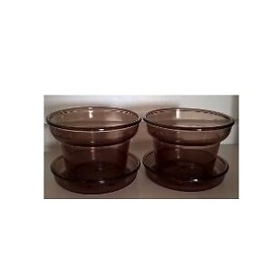 Vision Ware Corning Amber Glass Flower Pots and Saucers
