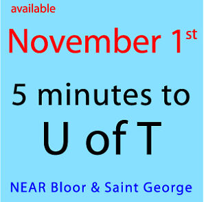 Available November 1st -- near U of T -- DOWNTOWN