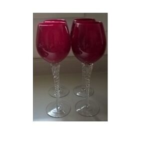 Ruby Red Crystal Wine Glasses / Goblets with Clear Twisted Stem