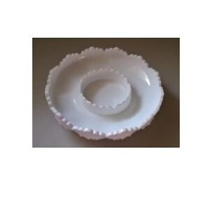 Chip 'n Dip/Candle Bowl in Hobnail-Milk Glass by Fenton