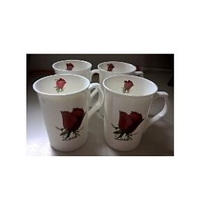 Porcelain Mugs with Red Roses