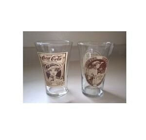 Vintage Coca Cola Mother's Pizza Flared 16 oz Drinking Glasses