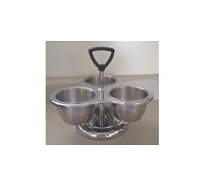 Vintage Stainless Steel 3 Cup Swivel Condiment Caddy