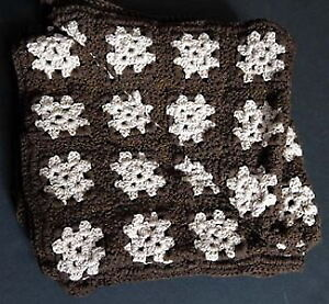 New brown & beige 32 x 64-inch hand-crocheted afghan throw