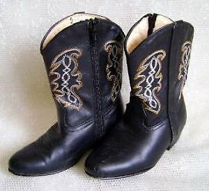APACHE Leather Boots Mexico Childs Sz 8 Cowboy Cowgirl Costume
