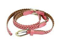 Pink faux leather pleated belt, unused