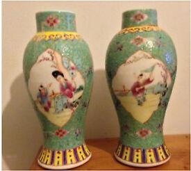 Pair of antique Famille rose vases