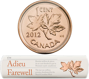 2012 CANADA Special Wrap Roll 1-Cent Coins - LAST MILLION CIRCULATION PENNIES on Rummage