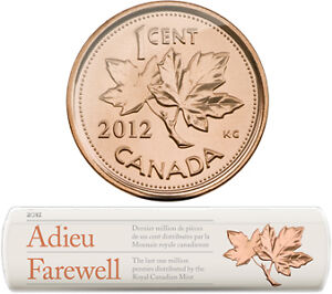 2012 CANADA Special Wrap Roll 1-Cent Coins - LAST MILLION CIRCULATION PENNIES