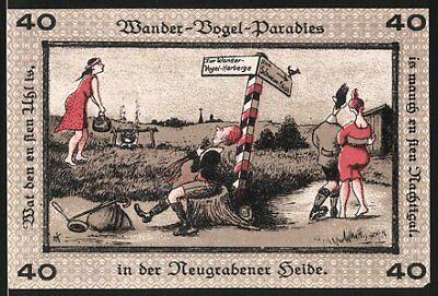 Notgeld Neugraben-Hausbruch 1921, 40 Pfennig, Stadtsiegel, Wander-Vogel-Paradie