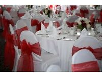 £.50p! £.50p!! £.50p!!! white/ Black Chair cover with sashes Hire in North west Area (Manchester)