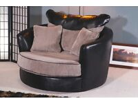 New Black Leather & Cord Swivel Cuddle Chair