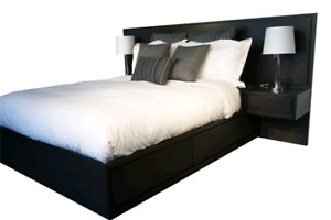 Malm Queen bed frame & side drawers