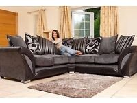 BRAND NEW SHANNON CORNER SOFAS (CHENILLE FABRIC) AVAILABLE IN BLACK GREY & BROWN BEIGE