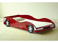 Red race car bed frame (single, no mattress)