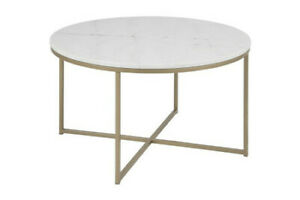 MODERN White Marble Round Coffee Table, brass coloured base