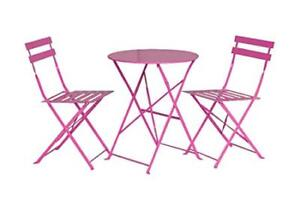 Pink Patio Set (Round table + 2 chairs) -pick up only