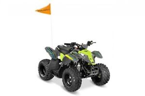 2018 Polaris Industries Outlaw® 50 - Avalanche Grey/Lime Squeeze