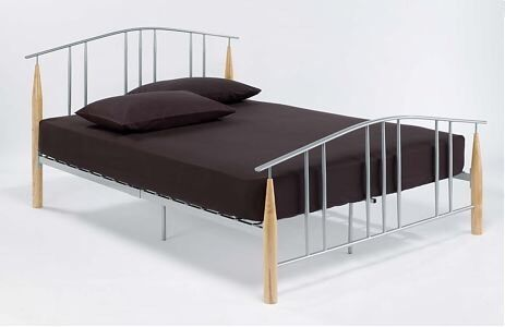 Double metal bed frame with deep quilted thick for Quilted bed frame