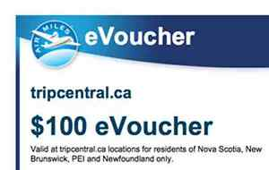 $100 eVoucher for tripcentral.ca travel from air miles