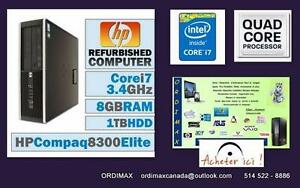 i7 Intel Quad Core 8 Threads  i7  HP  Elite 8300  Minni Desktop  8 Go DDR3  RAM /DD 1000 GB (1 Tb)  /USB3 /Minni Port A1