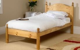Solid pine single bed with mattress and mattress covet