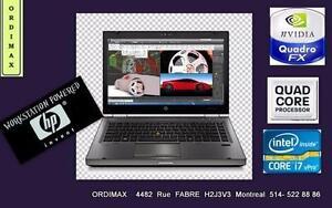 Laptop Workstation  Professional x Ingénieurs, Architecte  Multimédia3D  Intel i7 QuadCoré, 8GBRAM ,Vidéo Quadr2GB Tx in