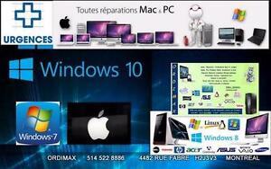 URGENT Service Réparation et  Solution Systems   Apple et Window  pour  tout  l'ordinateur Laptop et  PCs, Ultrabook