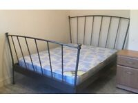 Silver Double Bedframe, fan-shaped head and foot board with two rows of wooden slats