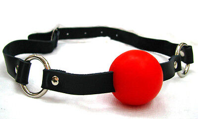 GENUINE LEATHER MOUTH BALL GAG - SILICONE BALL(NOT RUBBER) RED on Rummage