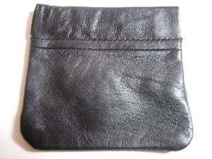 NEW-BLACK-LEATHER-Squeeze-COIN-PURSE-WALLET-w-KeyRing