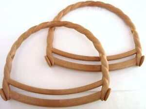 1 pair of wood effect curly rope bag handles knitted for Handles for bags craft