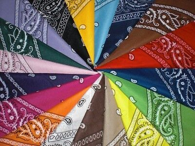 LOT OF 20 BANDANAS  PAISLEY DOUBLE SIDE PRINTED 100% COTTON   BIKER SCARF on Rummage