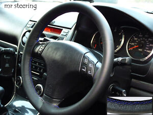 FOR-MAZDA-6-BEST-QUALITY-ITALIAN-LEATHER-STEERING-WHEEL-COVER-BLUE-STITCHING