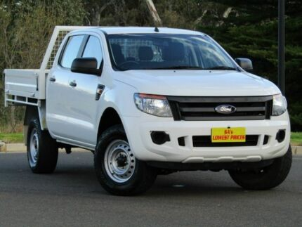 2014 Ford Ranger PX XL Double Cab White 6 Speed Manual Cab Chassis