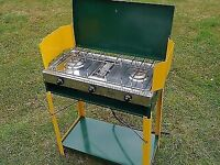 CAMPING COOKER.twin burner hob and grill and table very good condition