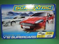 Scalextric V12 cars and track - boxed and in good condition