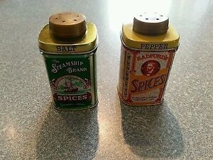 Vintage Olde English Tin Salt and Pepper Shakers
