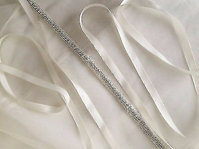 Thin Bridal Belt Ivory White Rhinestones